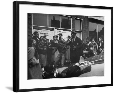Police Breaking Up a Fight in the Slums--Framed Art Print