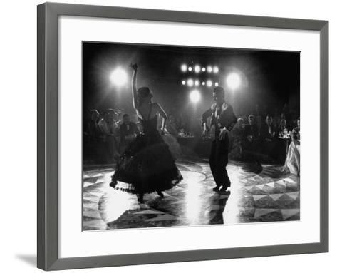 The Opening of the Castellana Hilton Hotel, Spanish Dancers Doing a Famenca Number in Patio-Yale Joel-Framed Art Print
