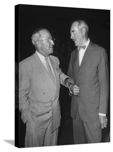 Pres. Harry S. Truman Talking to Dean Acheson--Stretched Canvas Print