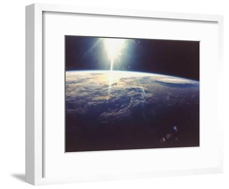 Sunlight over Earth Taken from Space Shuttle Discovery VIII Mission--Framed Art Print