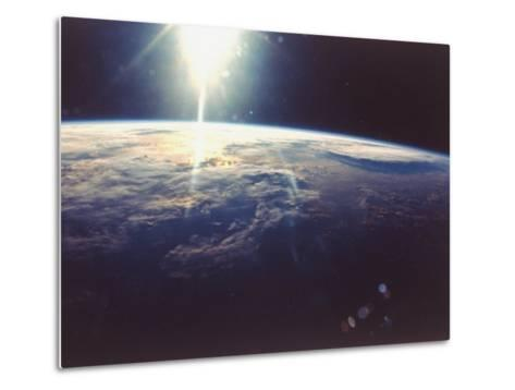 Sunlight over Earth Taken from Space Shuttle Discovery VIII Mission--Metal Print