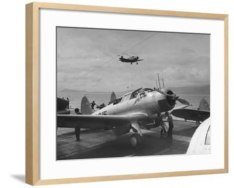 US Navy Bombers Sitting on Deck of Aircraft Carrier--Framed Art Print