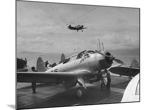 US Navy Bombers Sitting on Deck of Aircraft Carrier--Mounted Photographic Print