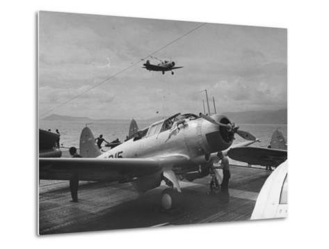 US Navy Bombers Sitting on Deck of Aircraft Carrier--Metal Print