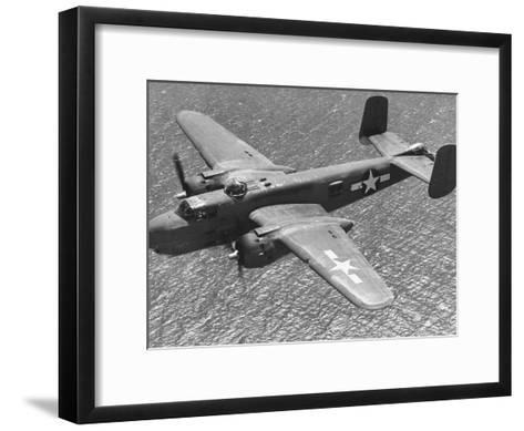 Excellent of a B-25 Mitchell Bomber in Flight--Framed Art Print