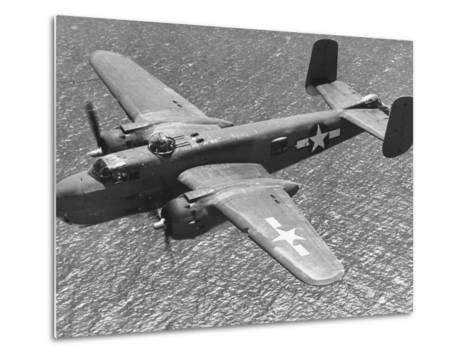 Excellent of a B-25 Mitchell Bomber in Flight--Metal Print