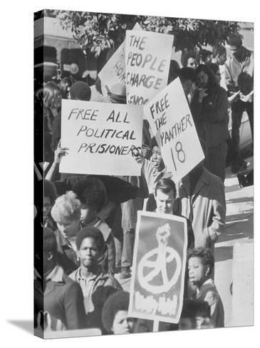 Demonstratin in Support of the Black Panthers Outside Hall of Justice-Ralph Crane-Stretched Canvas Print