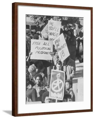 Demonstratin in Support of the Black Panthers Outside Hall of Justice-Ralph Crane-Framed Art Print