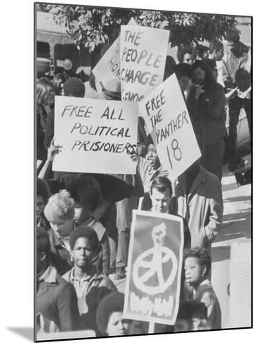 Demonstratin in Support of the Black Panthers Outside Hall of Justice-Ralph Crane-Mounted Photographic Print