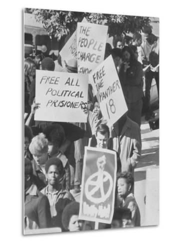 Demonstratin in Support of the Black Panthers Outside Hall of Justice-Ralph Crane-Metal Print