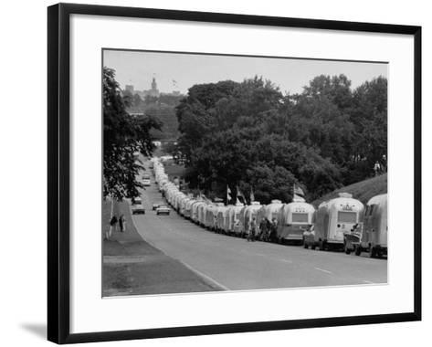Long Line of Airstream Trailers Wait for Parking Space at a Campground During a Trailer Rally-Ralph Crane-Framed Art Print