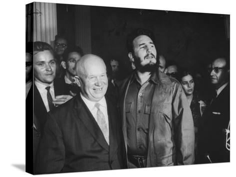 Nikita Khrushchev and Fidel Castro Attending United Nations Sessions--Stretched Canvas Print