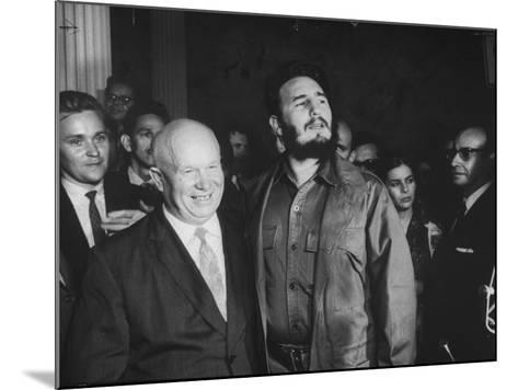 Nikita Khrushchev and Fidel Castro Attending United Nations Sessions--Mounted Photographic Print