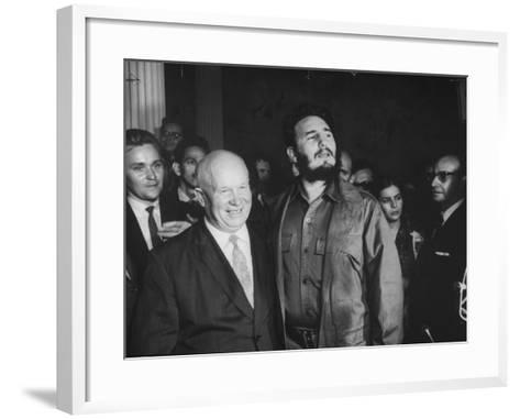 Nikita Khrushchev and Fidel Castro Attending United Nations Sessions--Framed Art Print