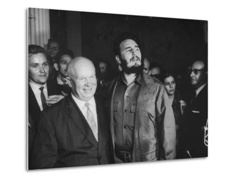 Nikita Khrushchev and Fidel Castro Attending United Nations Sessions--Metal Print