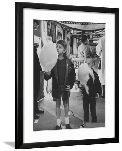 Children Eating Cotton Candy Given by a League of Women Voters-Ralph Crane-Framed Art Print