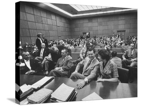 Carole Tregoff and Dr. Bernard Finch During Recess of Murder Trial-Ralph Crane-Stretched Canvas Print