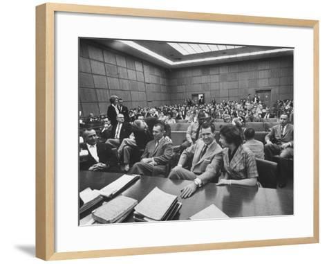 Carole Tregoff and Dr. Bernard Finch During Recess of Murder Trial-Ralph Crane-Framed Art Print