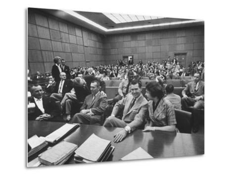 Carole Tregoff and Dr. Bernard Finch During Recess of Murder Trial-Ralph Crane-Metal Print