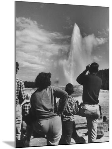Old Faithful in Yellowstone National Park--Mounted Photographic Print