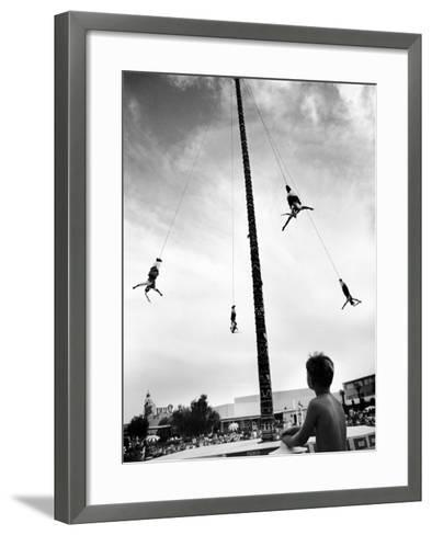 Flying Pole Dance or Voladores, Being Peformed by Aztec-Maya Ballet Co. at Dunes Hotels-Allan Grant-Framed Art Print