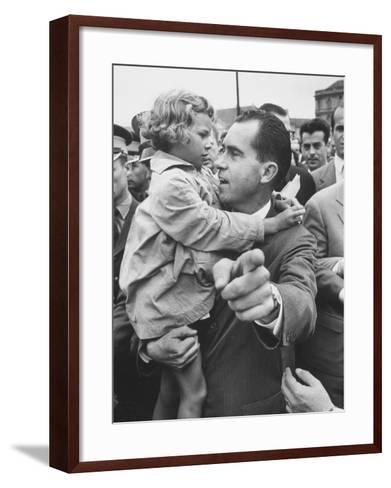 US Vice-President Richard M. Nixon Holding a Little Polish Girl--Framed Art Print