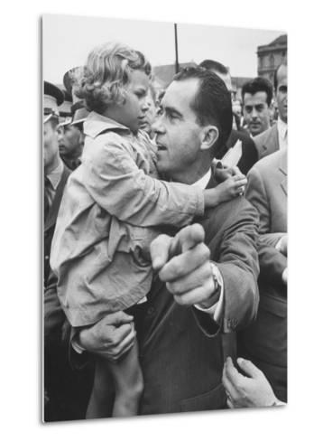 US Vice-President Richard M. Nixon Holding a Little Polish Girl--Metal Print