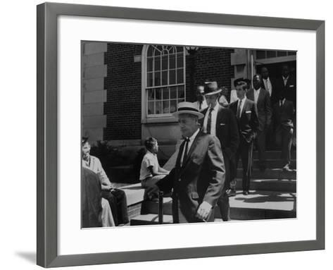 Arlington School Board Members Leaving a Federal Court Re: School Integration-Ed Clark-Framed Art Print