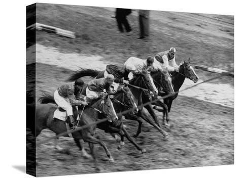 Racing at the Annual Horse Show at Hippodrome Stadium--Stretched Canvas Print