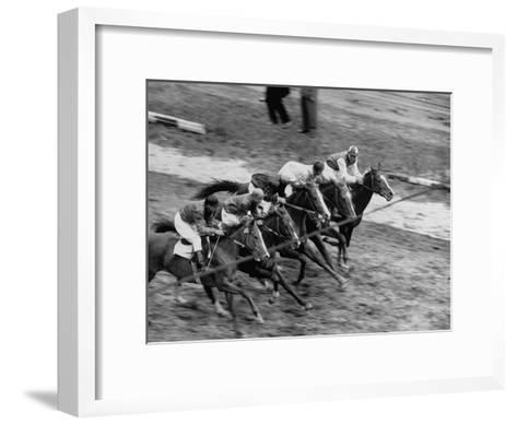 Racing at the Annual Horse Show at Hippodrome Stadium--Framed Art Print