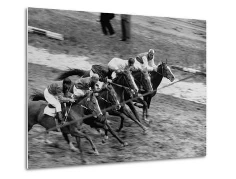 Racing at the Annual Horse Show at Hippodrome Stadium--Metal Print