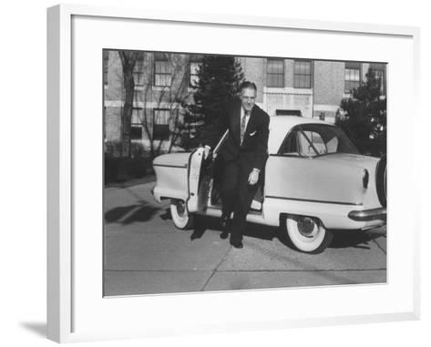President of American Motors George W. Romney Getting Out of His Car-Grey Villet-Framed Art Print