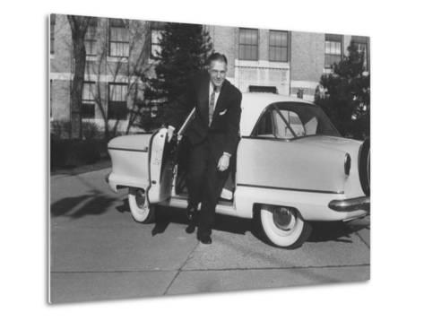 President of American Motors George W. Romney Getting Out of His Car-Grey Villet-Metal Print