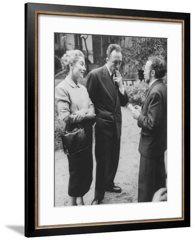 French Author, Albert Camus and His Wife after He Has Won a Nobel Prize for His Writing-Loomis Dean-Framed Art Print