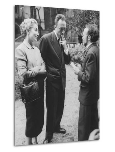 French Author, Albert Camus and His Wife after He Has Won a Nobel Prize for His Writing-Loomis Dean-Metal Print