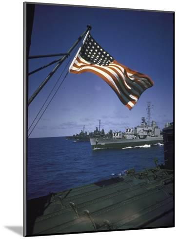 American Flag Flying over Us Navy Ships at Sea--Mounted Photographic Print