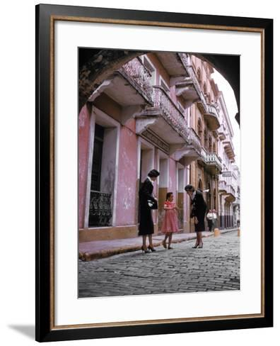 Two Eastern Airlines Stewardesses Talking to Native Girl on Street--Framed Art Print