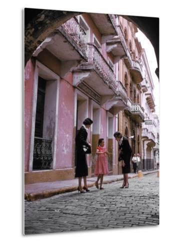 Two Eastern Airlines Stewardesses Talking to Native Girl on Street--Metal Print