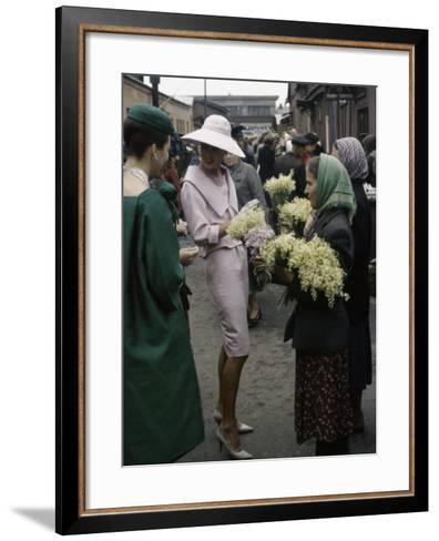 Dior Models in Soviet Union for Officially Sanctioned Fashion Show Visiting Flower Market--Framed Art Print