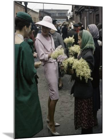 Dior Models in Soviet Union for Officially Sanctioned Fashion Show Visiting Flower Market--Mounted Photographic Print