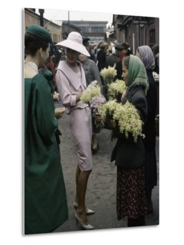 Dior Models in Soviet Union for Officially Sanctioned Fashion Show Visiting Flower Market--Metal Print