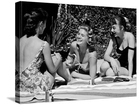 Teenager Suzie Slattery and Freinds Enjoying a Pool Party-Yale Joel-Stretched Canvas Print