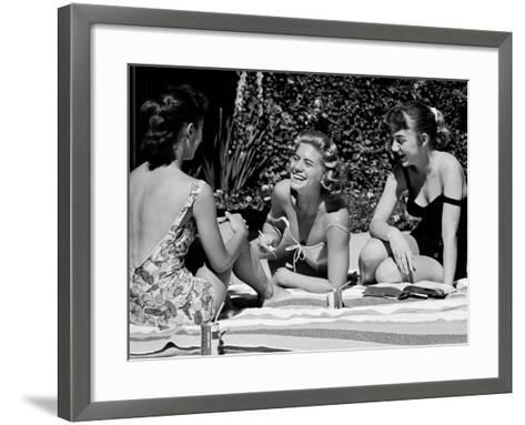 Teenager Suzie Slattery and Freinds Enjoying a Pool Party-Yale Joel-Framed Art Print