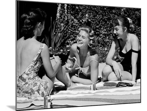 Teenager Suzie Slattery and Freinds Enjoying a Pool Party-Yale Joel-Mounted Photographic Print