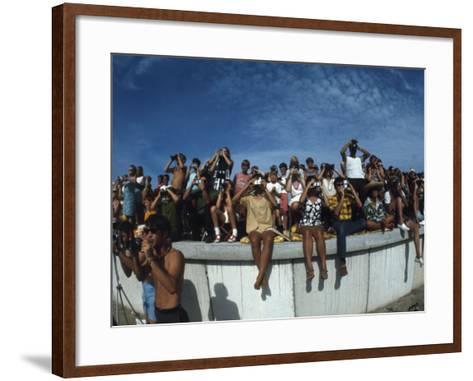 Fish Eye View of Spectators Watching Apollo 11 Blast-Off-Ralph Crane-Framed Art Print