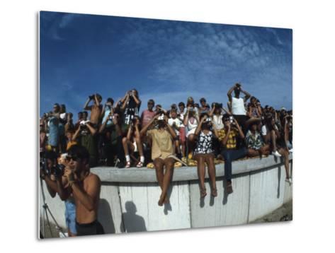 Fish Eye View of Spectators Watching Apollo 11 Blast-Off-Ralph Crane-Metal Print