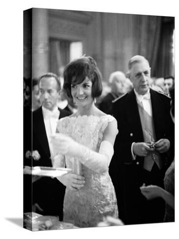 Jacquelin Kennedy Attending Luncheon W. Many Diginitaries Including French Pres. Charles Degaulle--Stretched Canvas Print