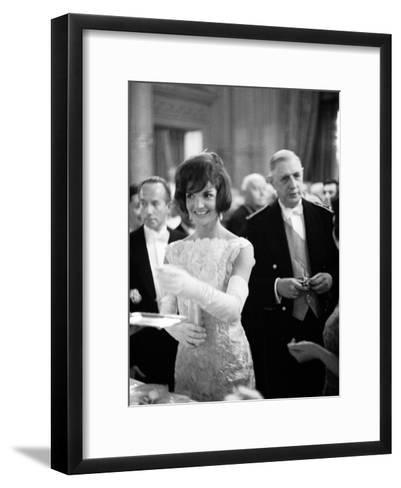 Jacquelin Kennedy Attending Luncheon W. Many Diginitaries Including French Pres. Charles Degaulle--Framed Art Print