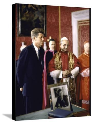 US Pres. Kennedy Meeting with Newly Crowned Pope Paul VI in the Pontiff's Library-John Dominis-Stretched Canvas Print
