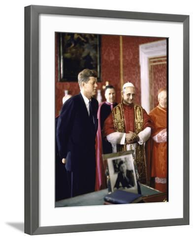 US Pres. Kennedy Meeting with Newly Crowned Pope Paul VI in the Pontiff's Library-John Dominis-Framed Art Print